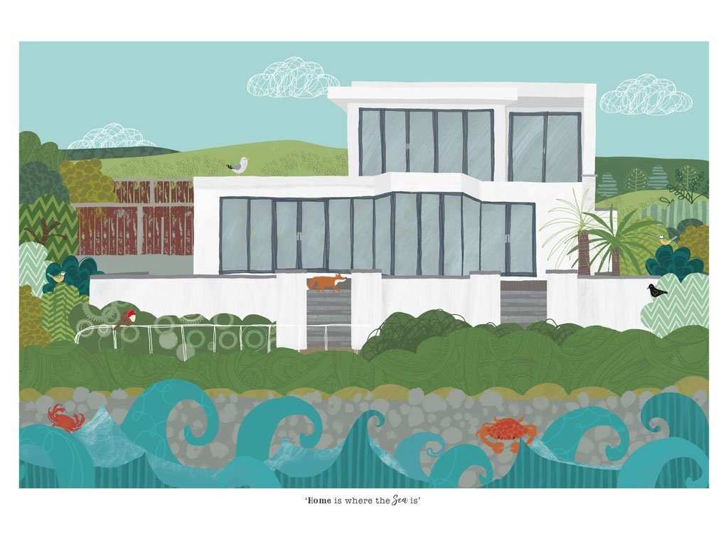 House Portrait Illustration by Rachael Grainger
