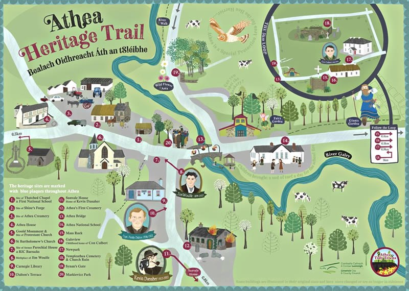 Athea Heritage Trail Map ©Rachael Grainger