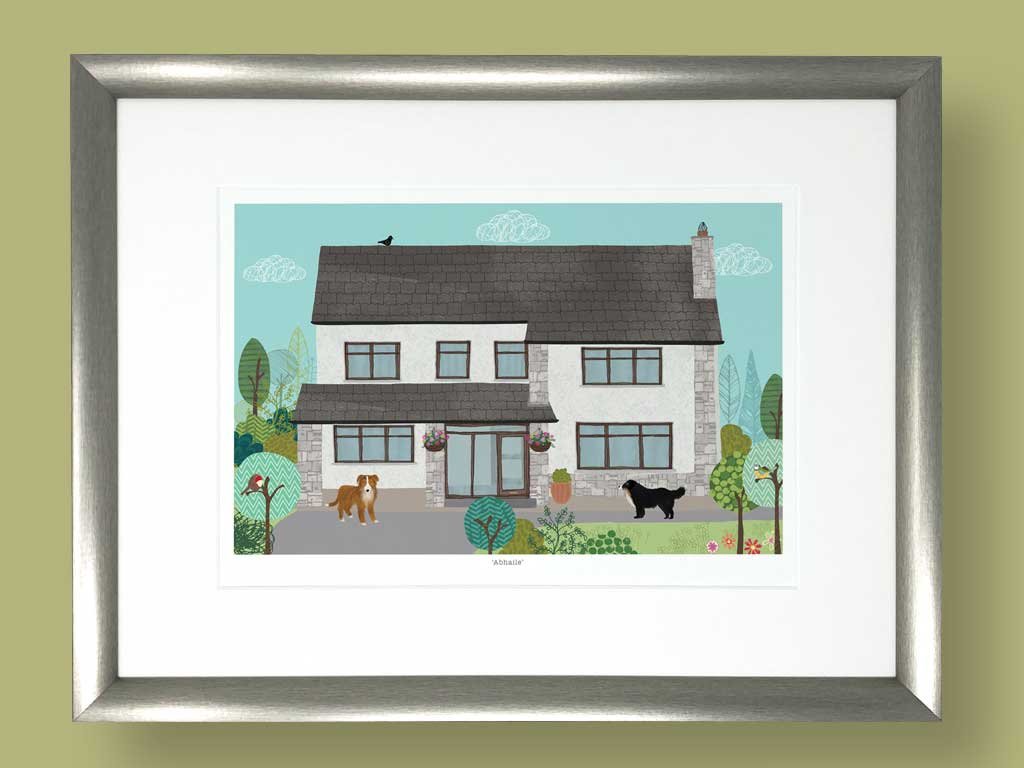 House Portraits, Home Illustration,Rachael Grainger Design and illustration, licensing, selling & creating colourful, uplifting artwork for all areas of surface design